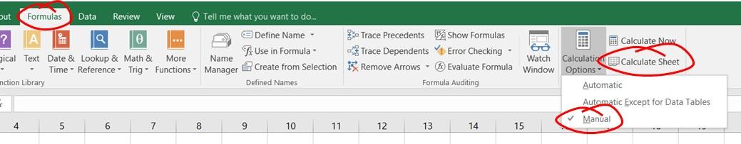 Excel Formulas, Change to Manual