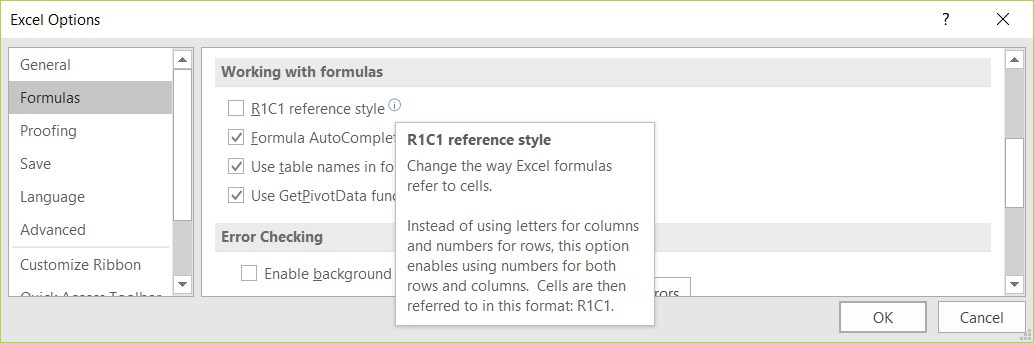 Excel R1C1 Formula Reference Style