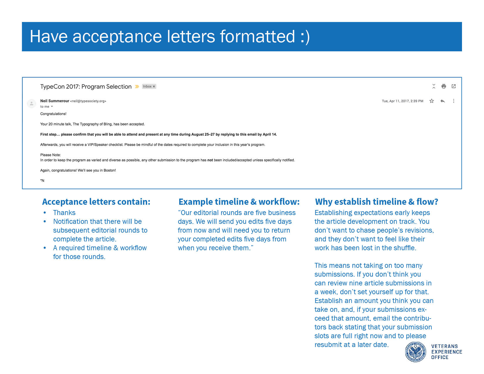 "Screenshot of an acceptance letter with the words ""Have acceptance letters formatted"" and an emoji smiley face in white text on a blue bar above it."