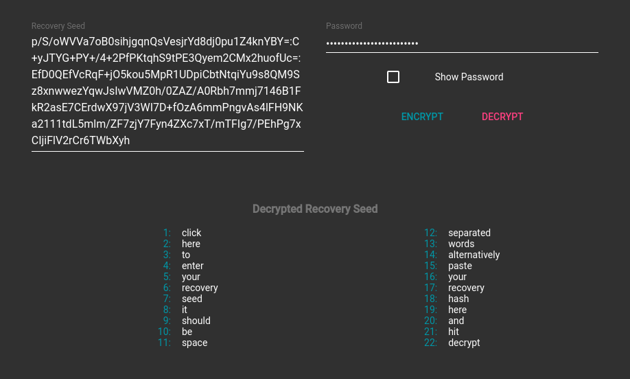 Decryption Screenshot