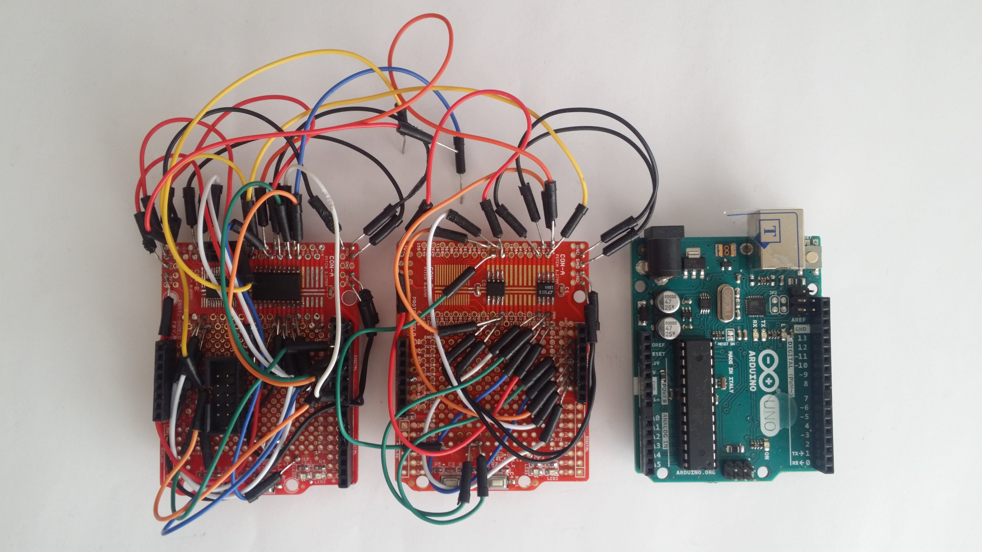 The 16ch board disassembled and the Arduino Uno