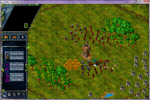 Image of the game with selected settlers.