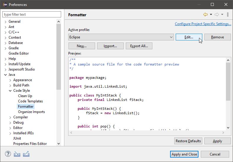 Formatter configuration dialog