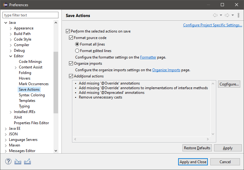 Save actions dialog