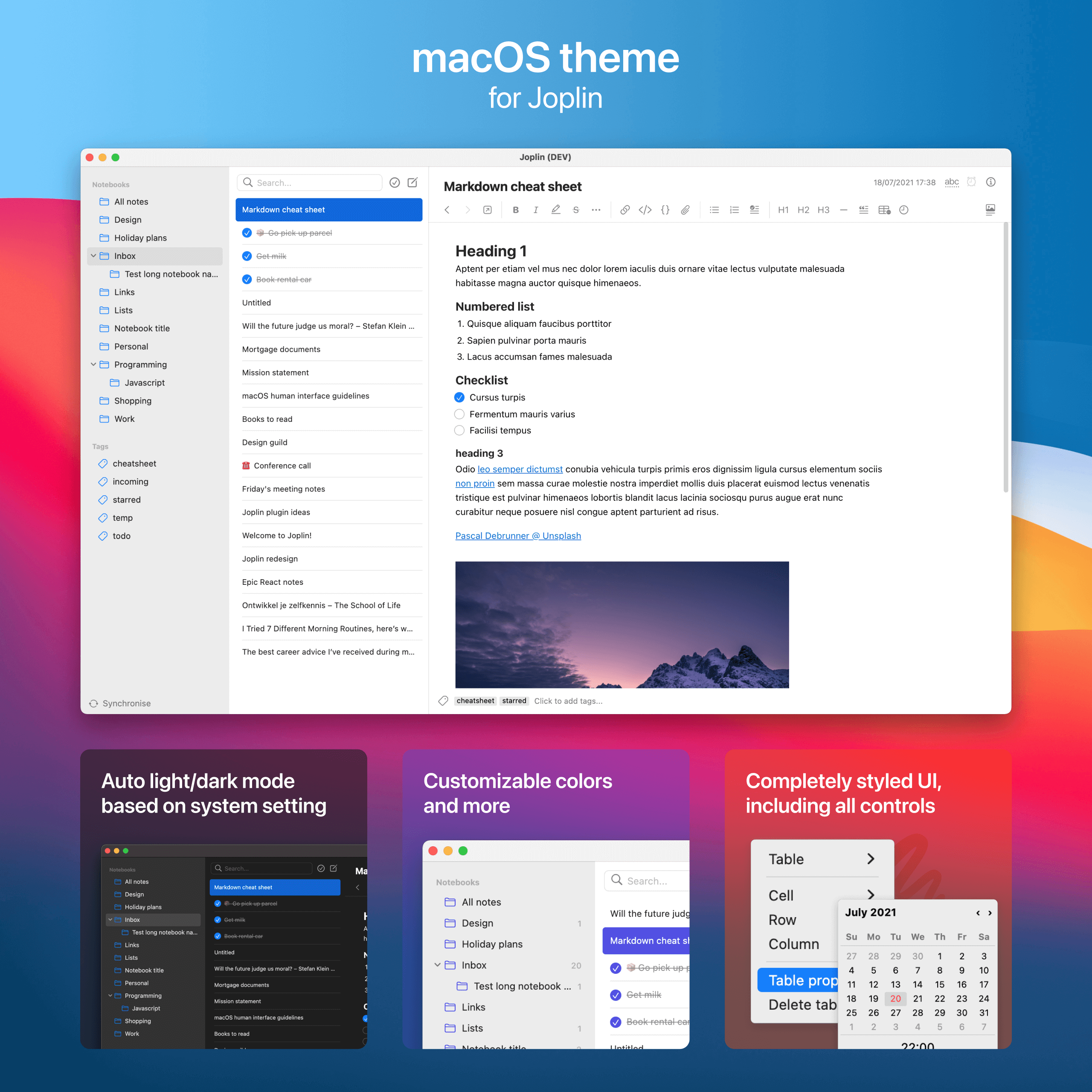macOS theme for Joplin