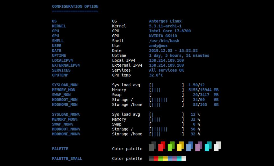 status configuration options