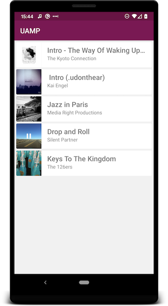 Screenshot showing UAMP's UI for browsing albums and songs