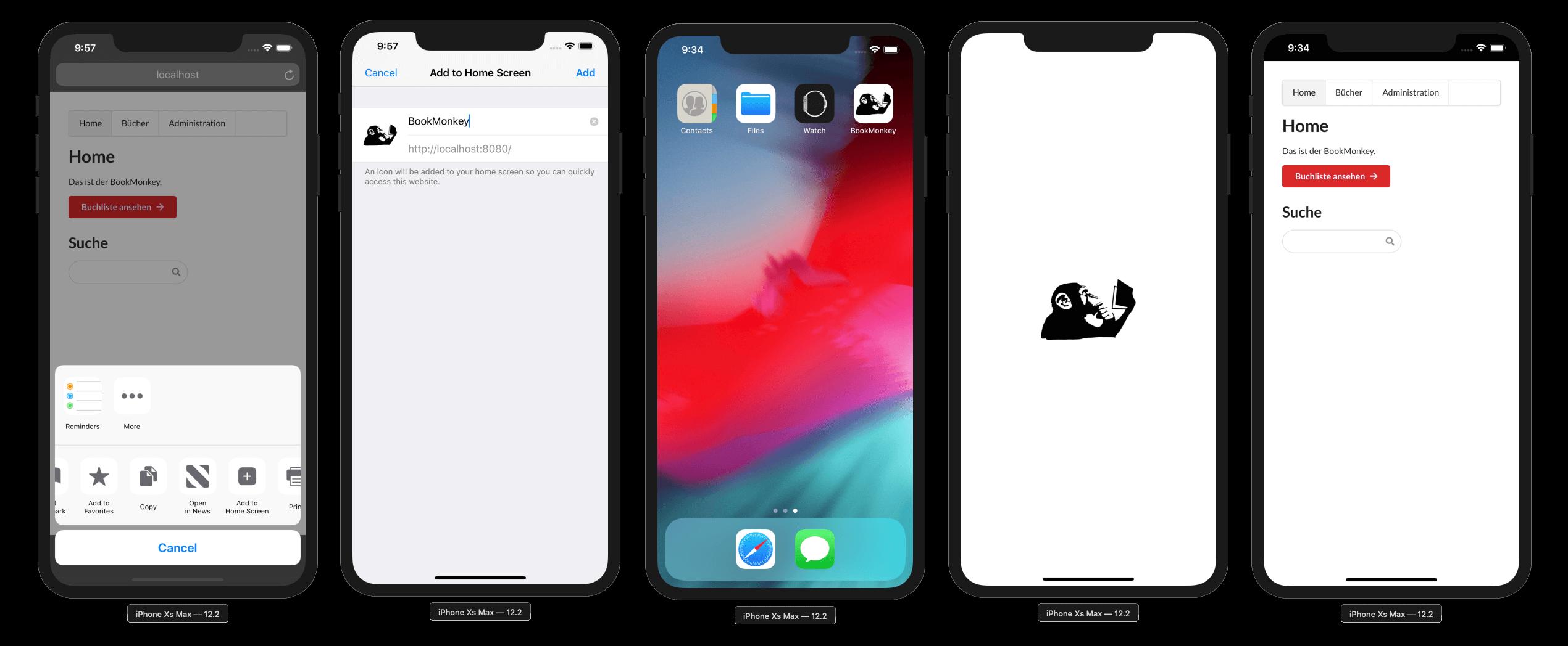 Der BookMonkey als PWA mit Splashscreen unter iOS