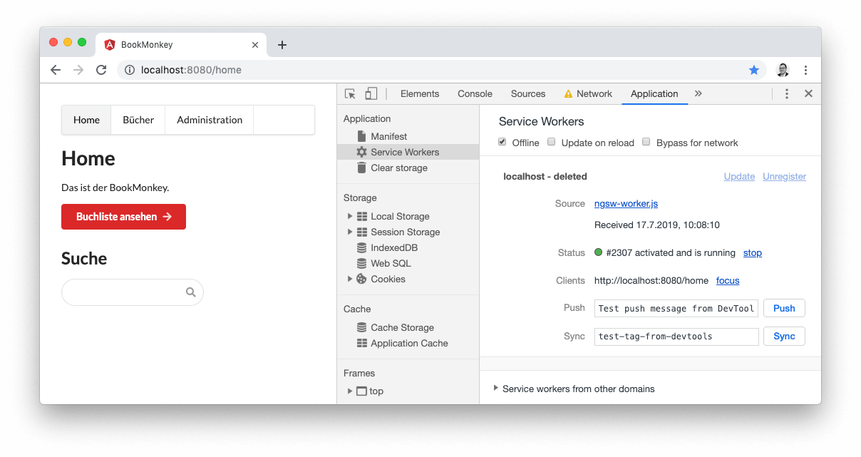 Screenshot BookMonkey PWA, Offline-Modus in den Google Chrome Developer Tools aktivieren