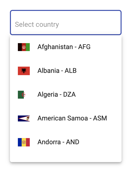 @angular-material-extensions/select-country demonstration