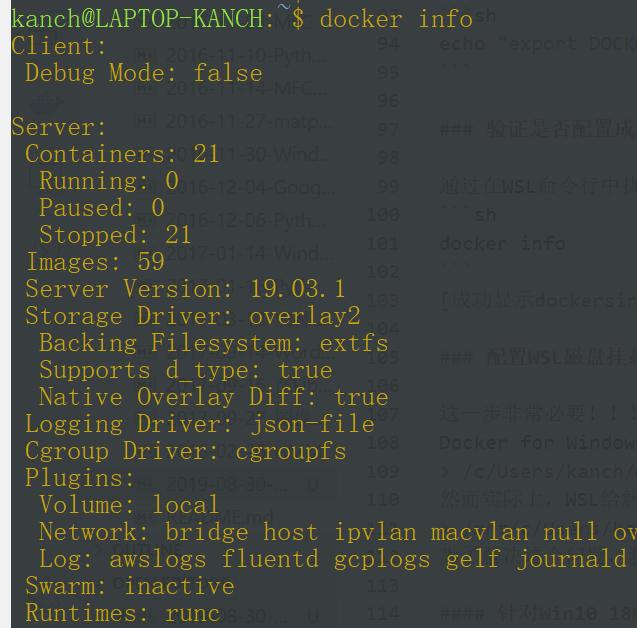 成功显示dockersinfo截图