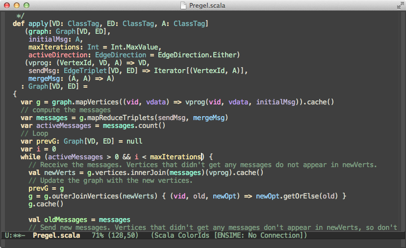 Screenshot of Color Identifiers Mode on Scala