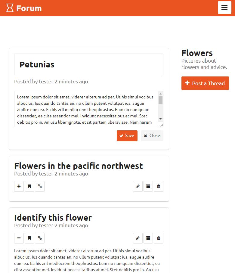 forum-app screenshot, showing a post list.