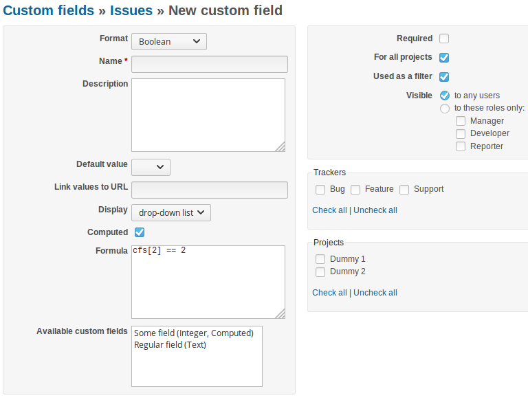 Computed Custom Field - Plugins - Redmine