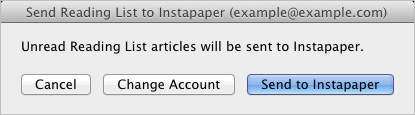 Send to Instapaper confirmation dialog