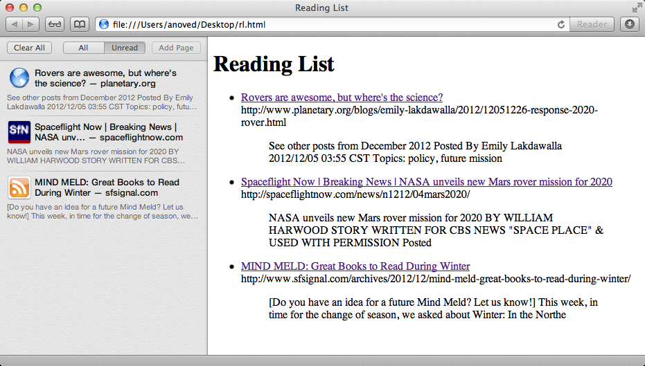 readinglist2html output next to actual Reading List