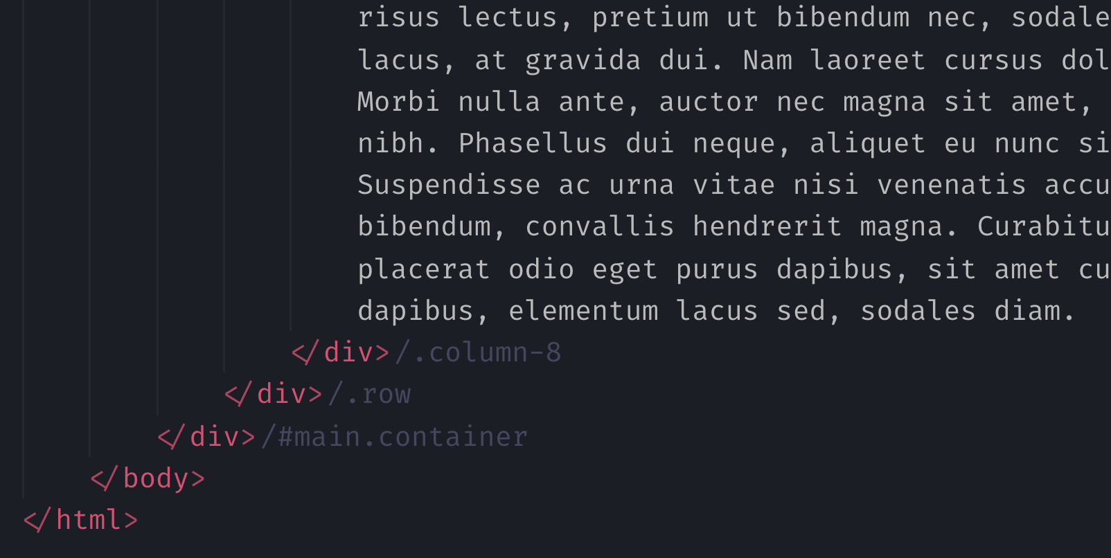 HTML End Tag Labels