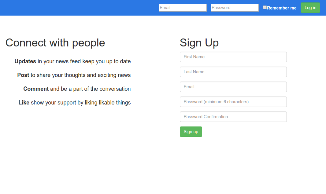 screenshot of the social connection home page