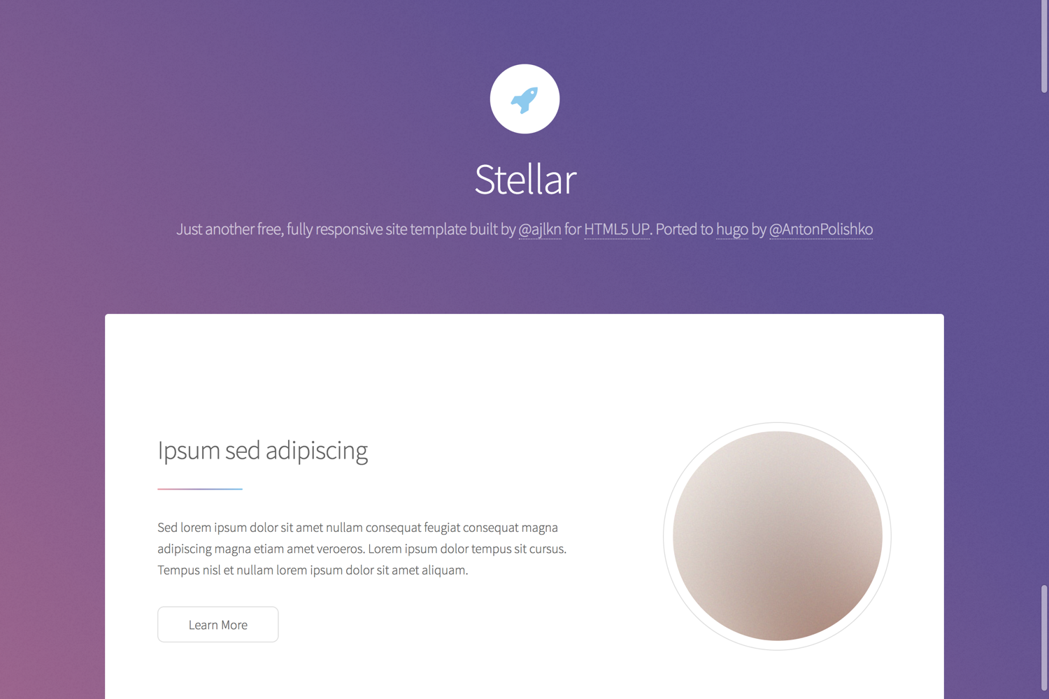Hugo Stellar Theme screenshot