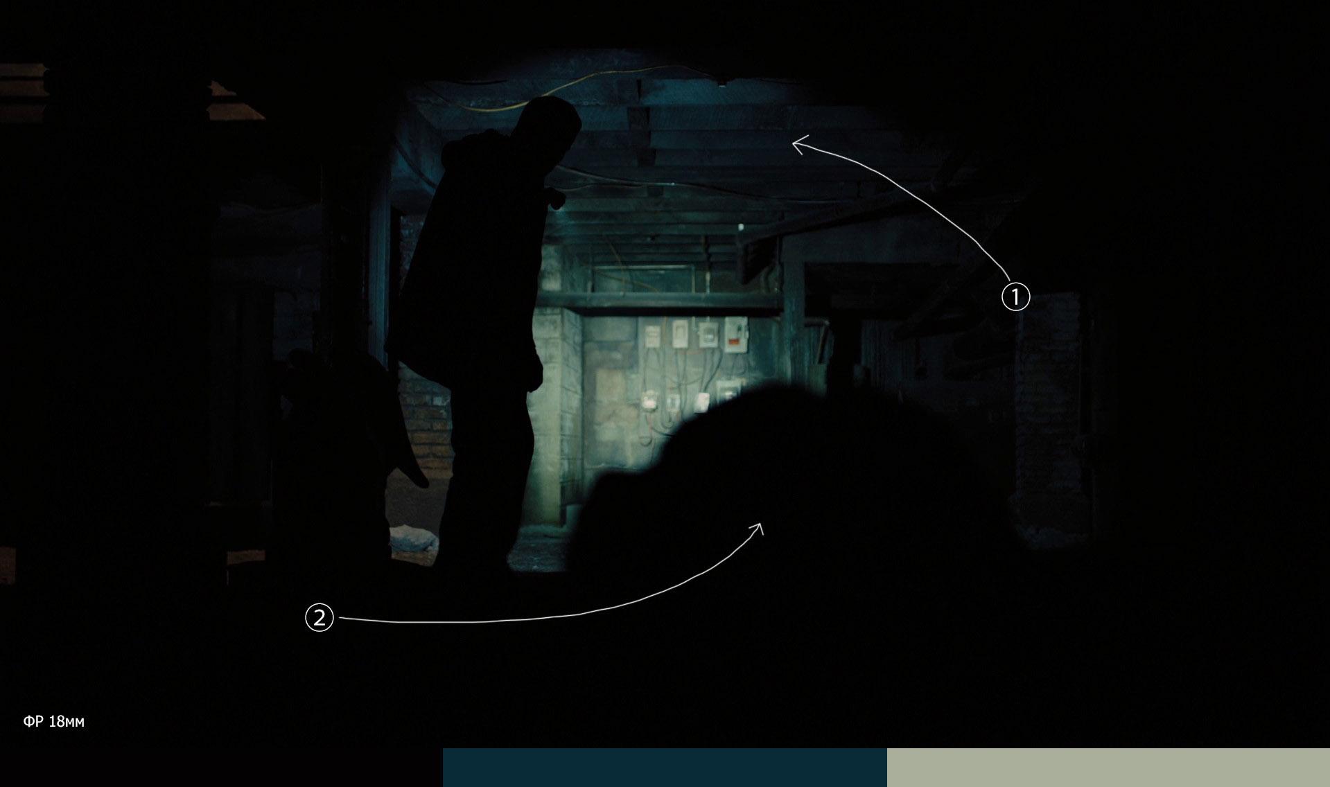 Герой кадрирует взгляд зрителя лучем фонаря
