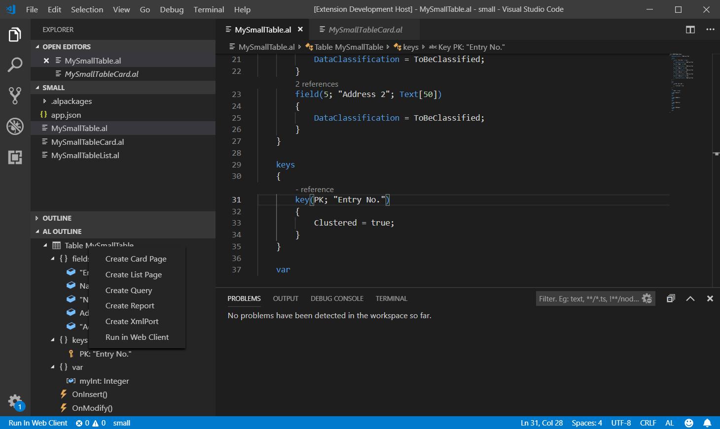 AL outline panel context menu