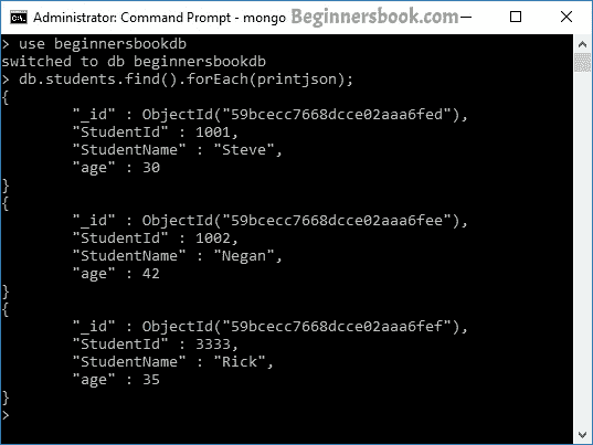 MongoDB query document in JSON format