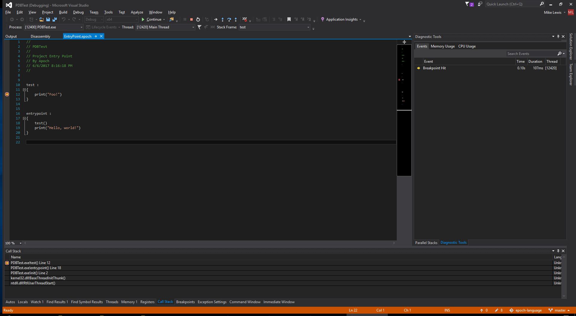 Visual Studio 2015 Debugging a Simple Epoch Program