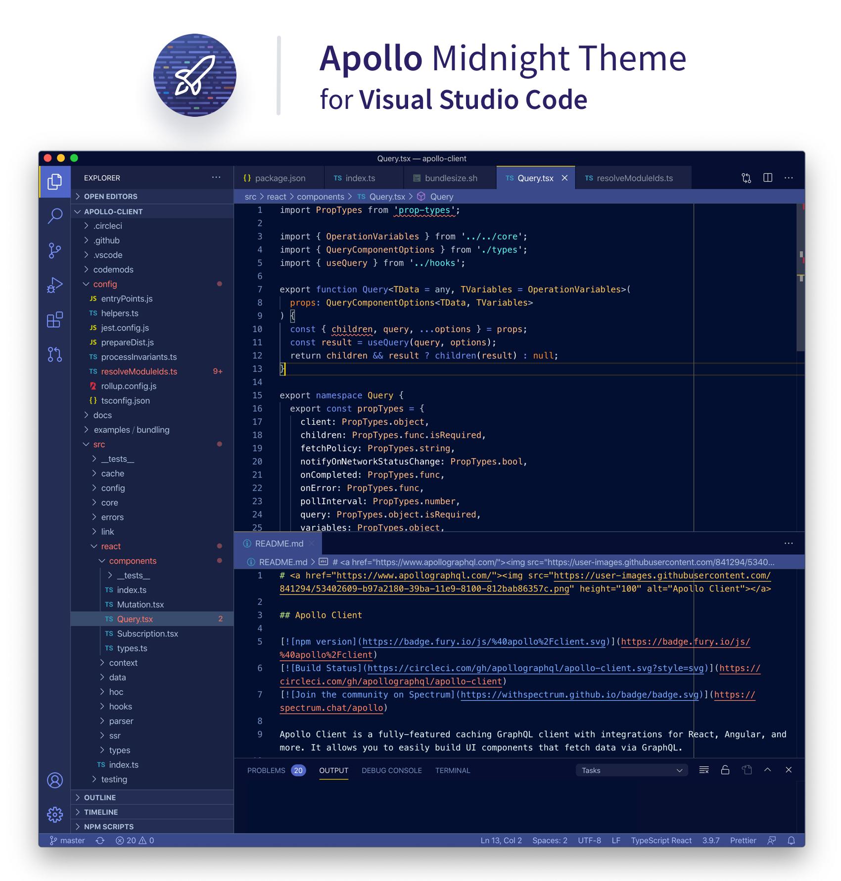 Screenshot of the Apollo Midnight VS Code theme