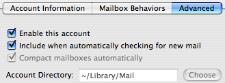 Apple Mail IMAP account advanced tab, showing Account Directory setting