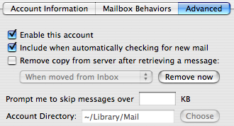 Apple Mail POP account advanced tab, showing Account Directory setting