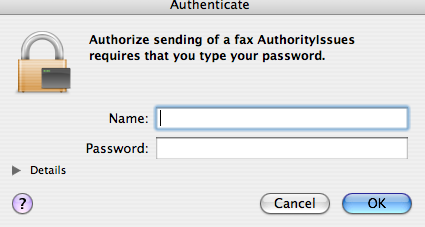Authorization dialog with erroneous caption