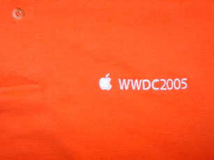 Very orange t-shirt with white WWDC2005 text