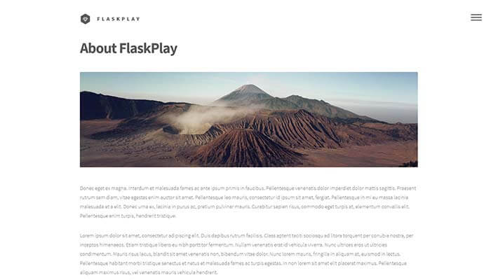 FlaskPlay Flask Boilerplate - Screen Shoot of a generic page