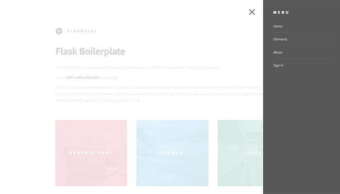 Flask Boilerplate - FlaskPlay, App Menu