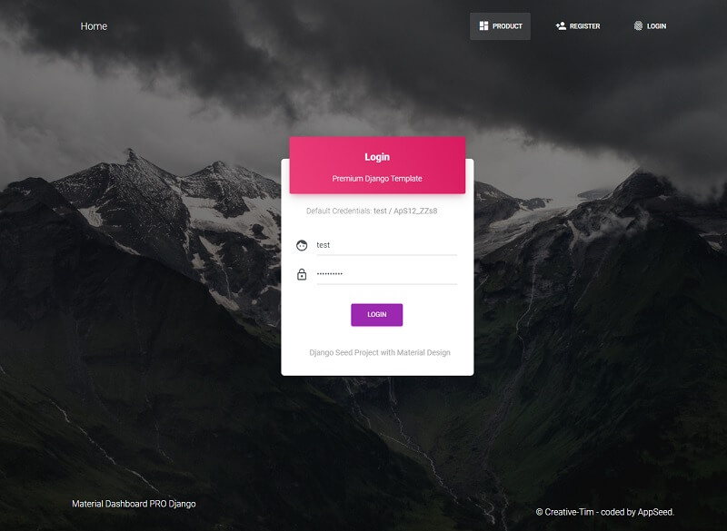 Material Dashboard PRO - Login Page.