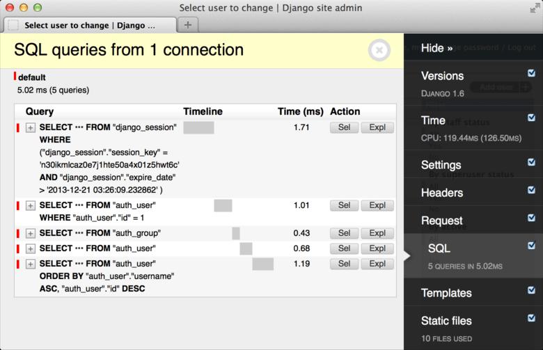 Django Extension Debug Toolbar - Screen Shot.