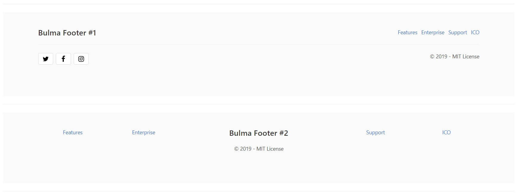 Bulma Css Components - Footers.