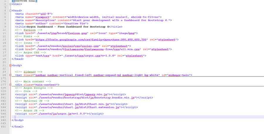 Flask Argon Dashboard - Original Page HTML