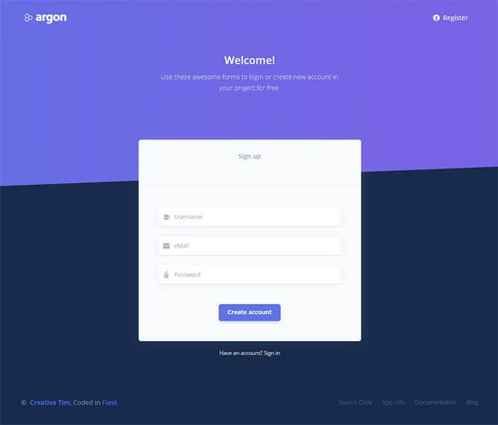 Flask Argon Dashboard - Registration Page
