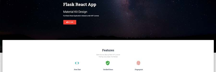 Material Kit React, coded with Flask Backend.