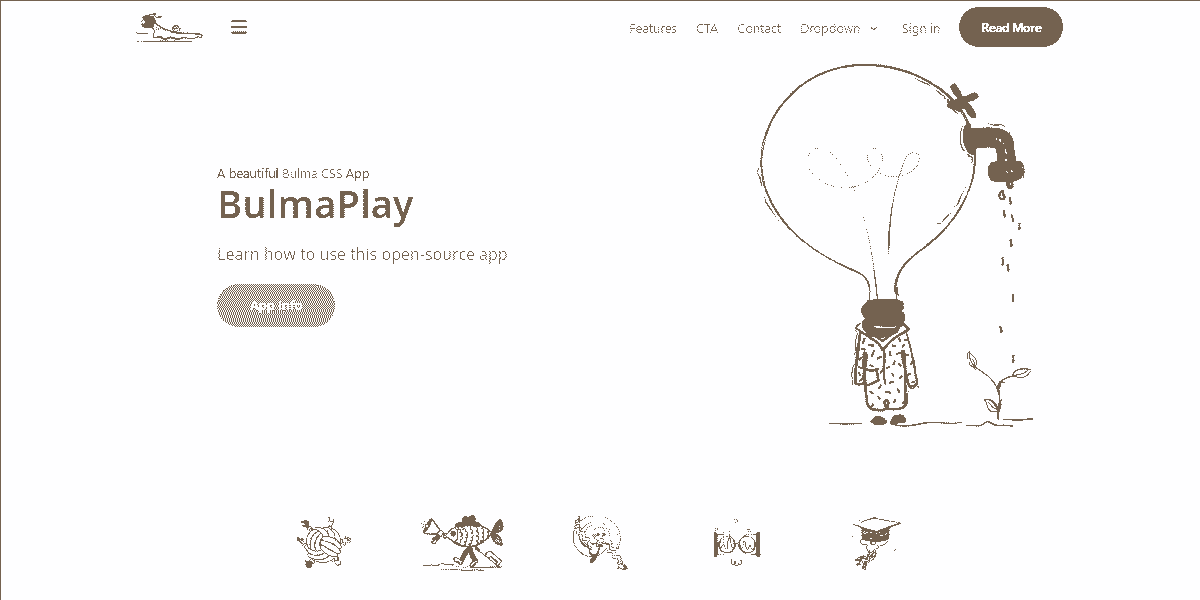 Top Image of BulmaPlay - Free Web App built with Bulma CSS.