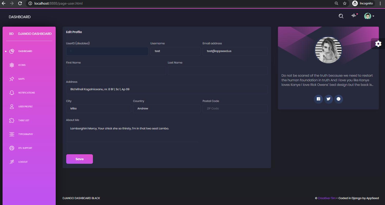 Django Dashboard Black - User Profile Page.