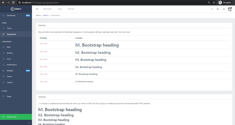 Django Dashboard CoreUI - UI Typography Page.