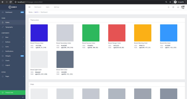 Django Dashboard CoreUI - UI Colors Page.