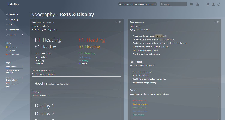 Django Dashboard Light Blue - UI Typography Page.