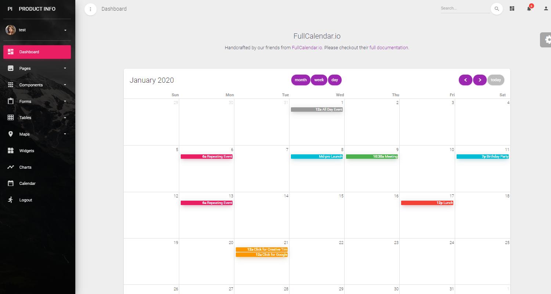 Django Dashboard Material PRO - Calendar Screen.