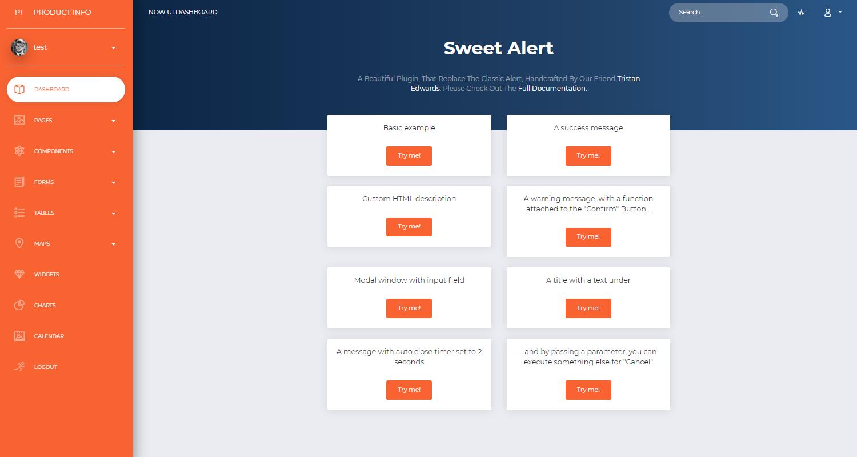 Django Dashboard NowUI PRO - UI Sweet Alert Screen.