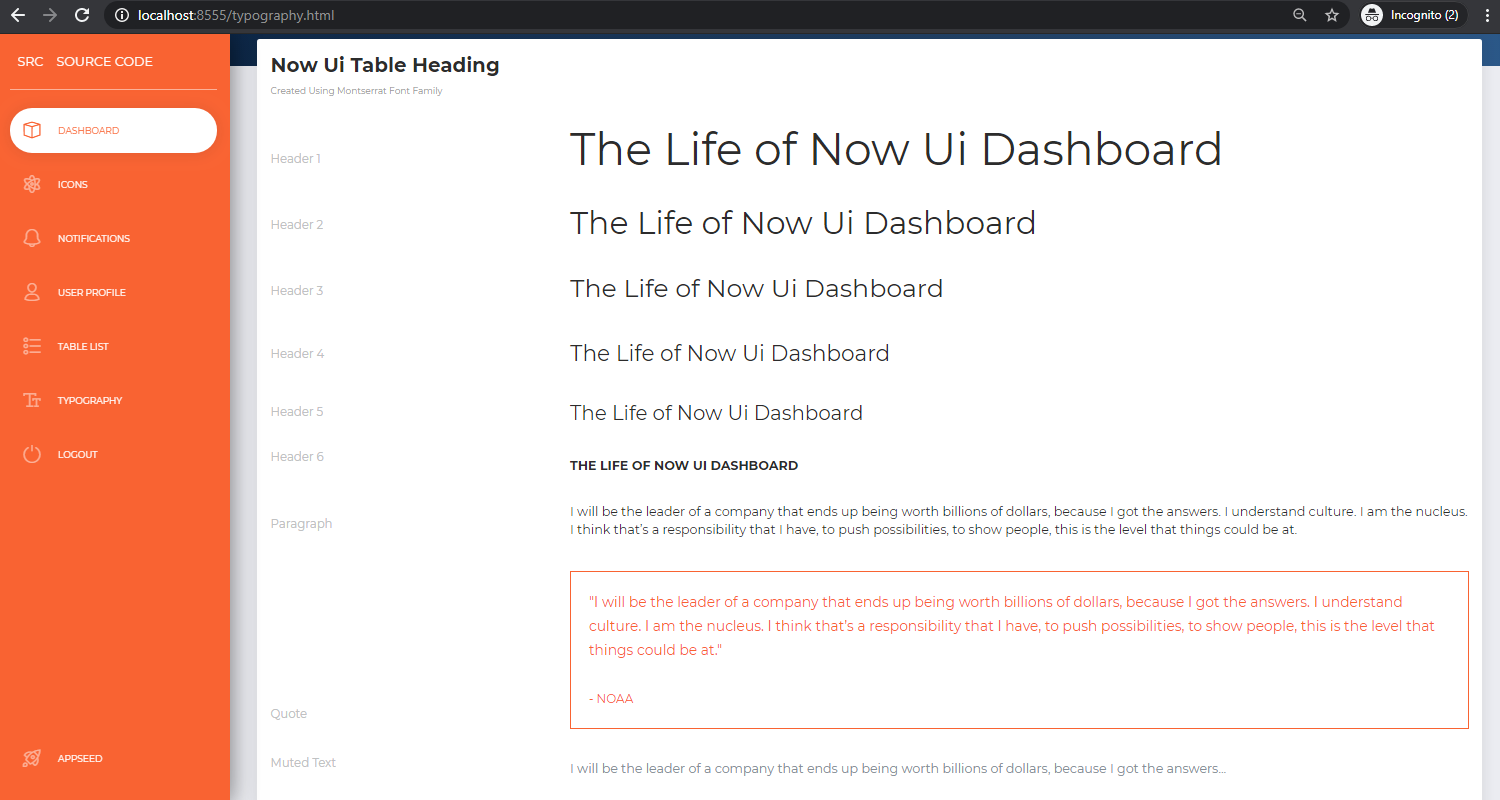 Django Dashboard NowUI - UI Tables Page.