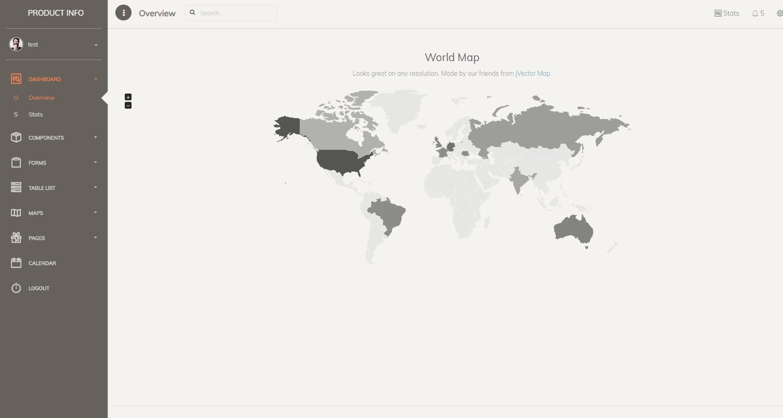 Django Dashboard Paper PRO - Vector Maps Screen.