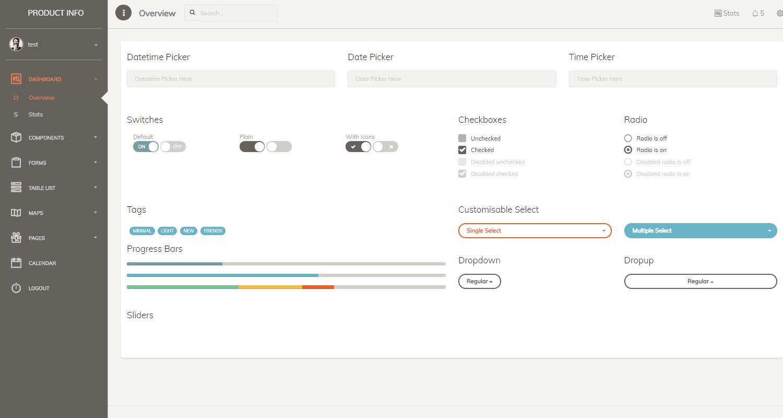 Django Dashboard Paper PRO - UI Widgets Screen.
